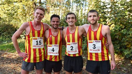 The top four at the Trowse 10K on Sunday. From left, George Gay (fourth), Piers Arnold (second), Ben