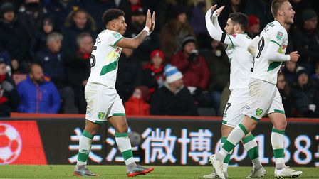 Onel Hernandez of Norwich celebrates scoring his side's 1st goal during the Carabao Cup match at the