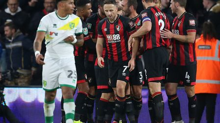 The Bournemouth players celebrate their sides decisive second goal against Norwich Picture: Paul Che