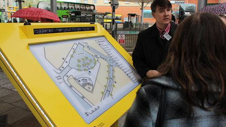 The new map at Norwich's bus station. Pic: Norfolk County Council.