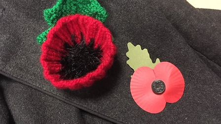 The banned knitted poppy alongside a traditional paper version Picture: Archant