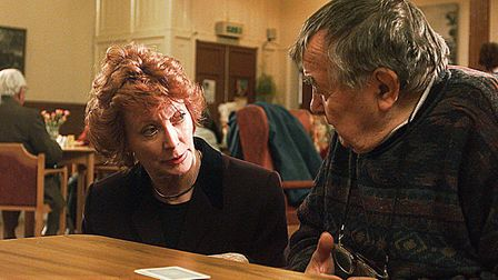 Baroness Hollis meeting pensioners in Norwich in 2000. Pic: Simon Finlay.