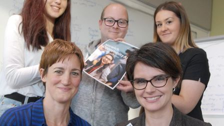 Employers pledge to support young people in Norwich. (L-R Anna Frazer, Chloe Smith, then back row, H