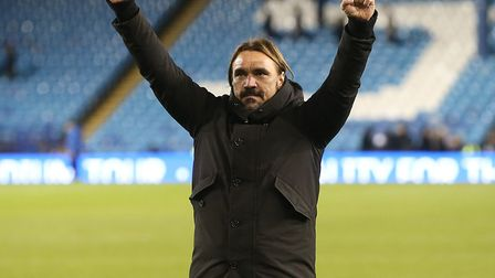 Norwich City head coach Daniel Farke celebrates victory over Sheffield Wednesday with the traveling