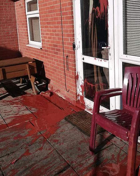 Vandals threw paints over pensioner Ray Stringer's Lowestoft bungalow. Photo: Anne Baxter.