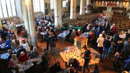 The Archbishop of Canterbury served breakfast at Blakeney church. Pictures: Diocese of Norwich