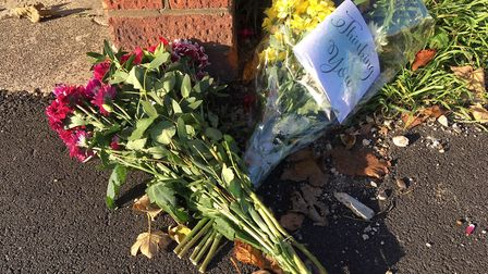 Tributes have started to be laid at the site of the crash on Southtown Road. Picture: Joseph Norton