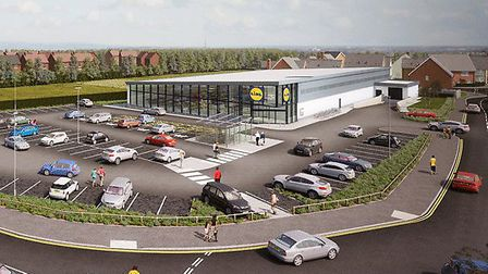 Artist's impression of the proposed new Lidl store in Sprowston, which is due to open in November. P