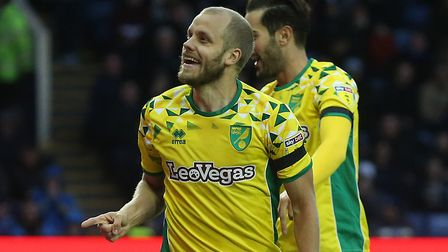 Teemu Pukki celebrates putting Norwich City in front at Sheffield Wednesday. Picture: Paul Chesterto