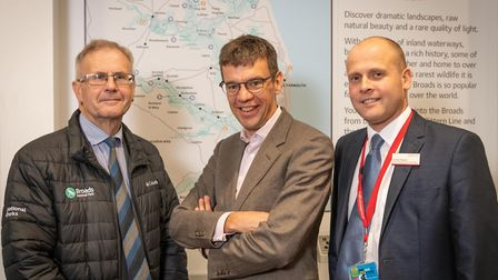 Haydn Thirtle, Broads Authority Chairman, and James Reeve, Greater Anglia Area Customer Services Ma