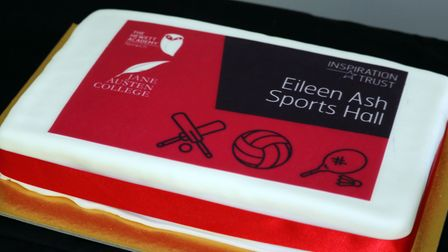 A cake made for Eileen Ash who opened the Sports Hall at The Hewett Academy in Norwich. Picture: Ins