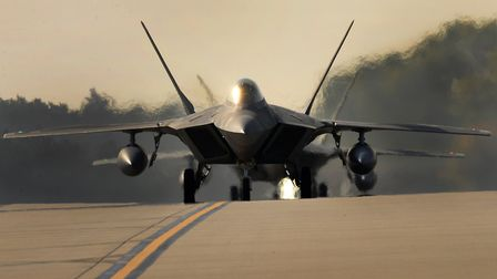 An F-22 Raptor assigned to the 1st Fighter Wing, Joint Base Langley-Eustis, Va. arrives at Royal Air