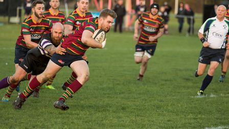 Jonty Newton breaks through to score a try for Norwich in their narriw defeat at Romford and Gidea P