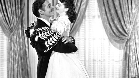A scene from the movie Gone with the Wind, starring Clark Gable and Vivien Leigh.