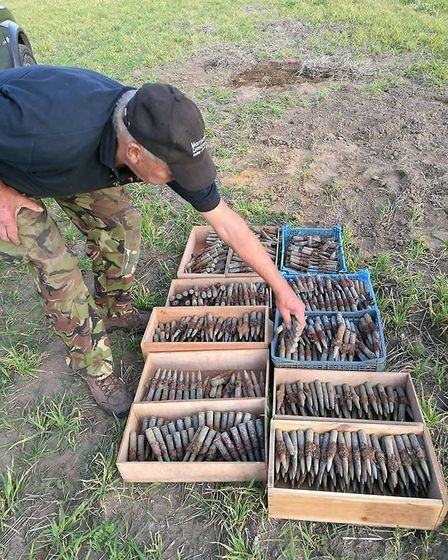 The unfired .50 calibre rounds were found by members of an aviation heritage group on Tuesday, under