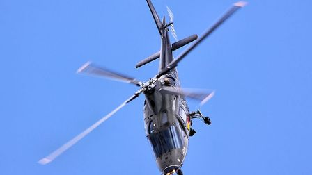 A Belgian Air Force A109 helicopter on a display flight. A chopper of the same model located the str