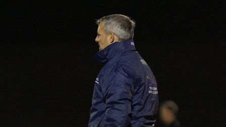 Lowestoft Town boss Jamie Godbold looks on as his side claimed victory at Leiston on Tuesday. Pictur