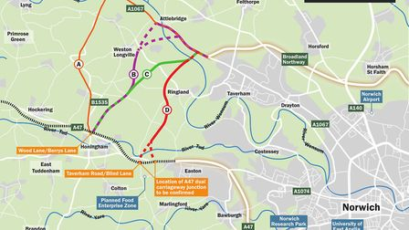 The options for the Western Link which the public will be consulted on. Pic: Norfolk County Council.