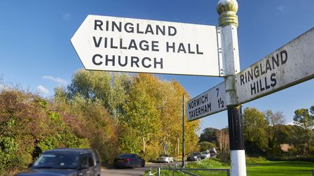 Traffic at a junction in Ringland. Pic: Norfolk County Council.