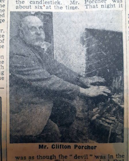 Mr Clifton Porcher told the EDP about the haunted house in Shelfanger. Date: 4 Jan 1957