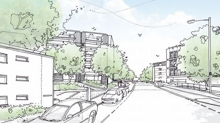 An illustrative view of what the development could look like from Rouen Road. Pic: Norwich City Coun