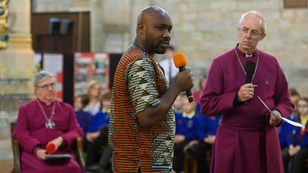The Archbishop of Canterbury Justin Welby, attended the Big Sing for Peace at King's Lynn Minster. W