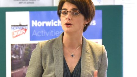 Launch of the third phase of Norwich 4 Jobs at Jobcentre Plus in Norwich. Chloe Smith MP speaking at