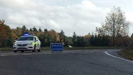 At the A47 near Swaffham where Norfolk police have closed off the road completely after a six vehicl