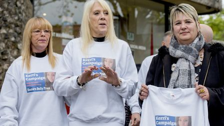 Mandy Proctor, right, with friends and family of Kerri McAuley helping to launch 'Kerri's Campaign'