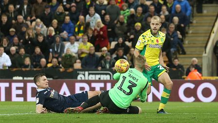 Teemu Pukki of Norwich scores his sides 4th goal during the Sky Bet Championship match at Carrow Roa