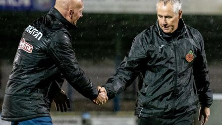 Ian Culverhouse, right, and assistant manager Paul Bastock after the final whistle Picture: Matthew