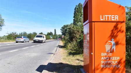 The orange smart bins have been removed from the A146 lay-by near Beccles. Picture: Nick Butcher