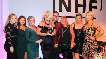 Staff at CODE Hair Salon in Oulton Broad after being named Best Independent Hair Salon in the countr