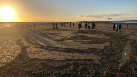 Pages of the Sea at Brancaster showing sculpture of Driver Stephen Hewitt. Photo: Iain Fraser-Barker
