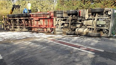 A lorry has overturned and closed the A47 between Easton and Honingham, Picture: Highways England