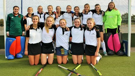 The Harleston Magpies Under-14 team who made progress in the England Hockey Championships by beating