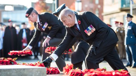 Norwich Remembrance Service at the War Memorial outside the City Hall, Norwich. Photo : Steve Adams