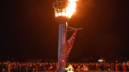 The beacon is lit at Pakefield for the community event. Picture: Mick Howes