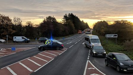 The crash closed the A47 between Easton and Honingham. Pic: Kimberly Youngman.
