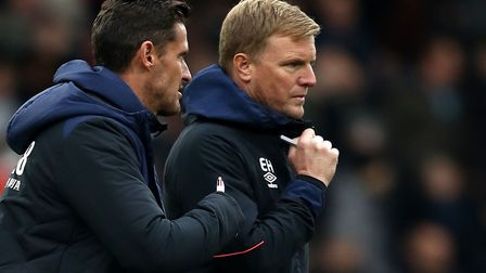 Bournemouth manager Eddie Howe, right, and his assistant Jason Tindall at Craven Cottage on Saturday