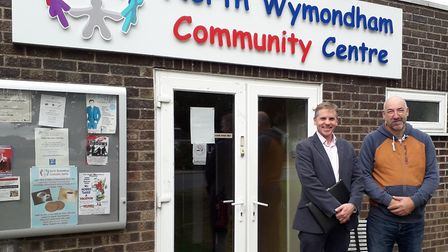 Tom North and Chairman of the trustees, Andrew Beer, visiting the newly rescued North Wymondham Comm