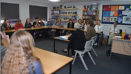 The BBC's director of news and current affairs Fran Unsworth (left) visted students at Fakenham Sixt