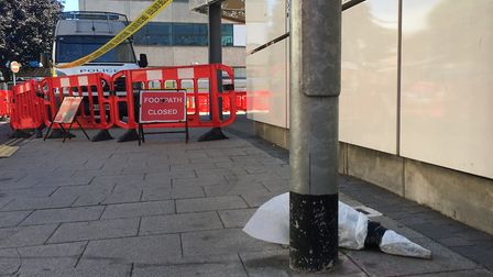 Flowers left at the scene where David Hastings was murdered. PIC: Peter Walsh