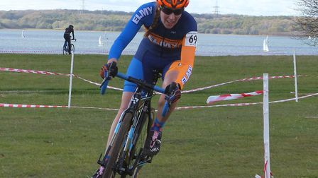 Jo Newstead – best vet 40+ woman at the Grafham Water cyclo-cross Picture: Fergus Muir