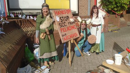 The marauding viking invaders - members of the Save Our Record Office (SORO) campaign group in Lowes