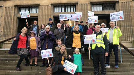 Neighbours to St Peter's Methodist Church protest against plans to turn it into 20 homes. Picture: N