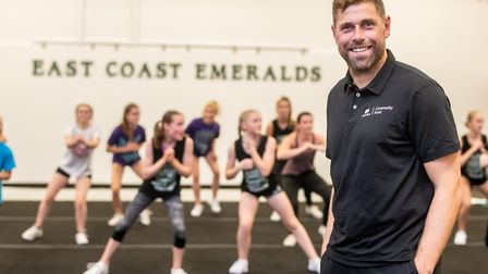 Norwich City FC legend Grant Holt visited East Coast Emeralds, a Norwich based community cheerleadin