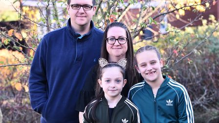 Darcey Hayman pictured with mum and dad, Dean and Charlene, and best friend Ellie Norry. Picture: So