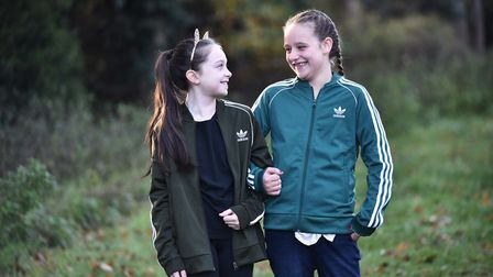 Darcey Hayman with her best friend Ellie Norry. Picture: Sonya Duncan