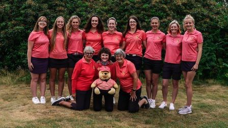 Sue Heeles (front row, right) lines up with the successful Norfolk Ladies team after last year's reg